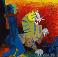 Fine art  - Blue figure and tiger by ArtistM F Husain
