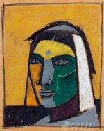 Fine art  - Portrait of Chand Bibi by Artist M F Husain
