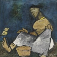 Fine art  - Woman at Work by Artist M F Husain