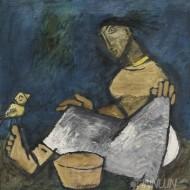 Fine art  - Woman at Work by ArtistM F Husain