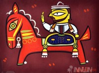 Fine art  - Man on Horseback by Artist Jamini Roy
