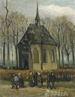 Fine art  - Congregation Leaving the Reformed Church in Nuenen  by Artist Vincent Van Gogh