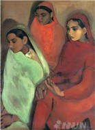 Fine art  - Three Girls by Artist Amrita Sher-Gil