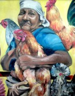Fine art  - Bird - Loving Grandmother by Artist Anu J Rajan