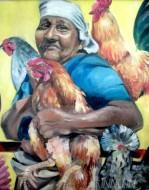 Fine art  - Bird - Loving Grandmother by ArtistAnu J Rajan