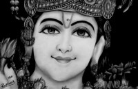 Fine art  - Lord Krishna Pencil Sketch by Artist Ratheesh R