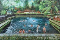 Fine art  - Children bathing in temple pondby ArtistMartin