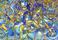 Fine art  - Krishna and Radha Mural by Artist Santhosh