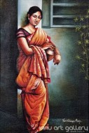 Fine art  - Lady with a pot by Artist Hari Kumar
