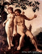 Fine art  - The Fall (Adam and Eve) by Artist Maerten van Heemskerck