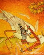 Fine art  - Krishna and Bird by Artist Sreeraj