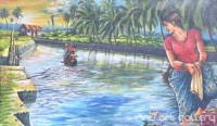 Fine art  - A Lady in the River Bank by Artist Hari Kumar
