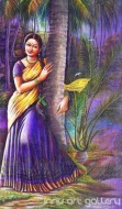 Fine art  - A Lady Standing in the River Bank by Artist Hari Kumar