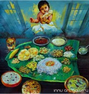 Fine art  - Traditional Kerala Meals by Artist Martin
