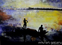 Fine art  - The Fisherman by Artist Kankana Pala
